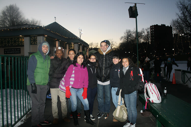 Tenacity College Prep students and staff ice skating at the Boston Common Frog Pond
